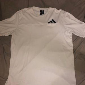 White Adidas Three Stripes Short Sleeve T-shirt